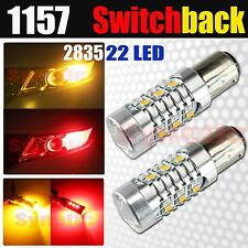 2x 1157 Dual Color Switchback 2835 Chip Red/Amber 22-LED Turn Signal Light Bulbs