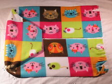 Cat Faces Colorful Boxes gbm Fleece Scarf