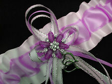 Simply Perfect! LAVENDER & WHITE Satin GARTER Prom Formal Bridal WEDDING