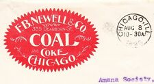 FB Newell COAL COKE Chicago Flag I 1896 Cover PSE Entire to Amana Society IA Ð