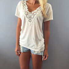 Fashion Summer Women Vest Top Sleeveless Blouse Casual Tank Tops Lace T-Shirt  L