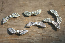 50pcs Angel wing charm spacer beads antique silver tone 16x5mm