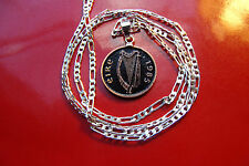 "1985 Accented Classic Irish Harp Coin Pendant on a 30"" 925 Sterling Silver Chain"