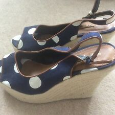 Women's Shoes navy wedge from next size 39 fabric spotted navy with brown trim