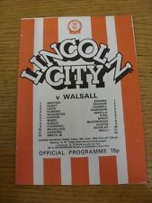 29/09/1978 Lincoln City v Walsall  (Item In Good Condition)