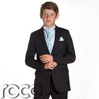 Boys Black Suit, Page Boy Suits, Prom Suits, Boys Wedding Suits, Blue Waistcoat
