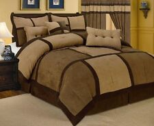 7 Piece Patchwork Brown Micro Suede Comforter Set Queen Size New @ Linen Plus