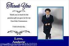 10 Personalised Communion or Confirmation Thank You Cards Boy Photo 1
