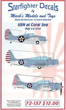 Starfighter Decals 1/72 U.S. NAVY AT THE BATTLE OF THE CORAL SEA May 1942