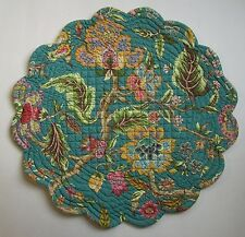 """C&F JASLEEN Quilted Scalloped 17"""" Round Cotton Placemat Teal, Greens, Pinks"""