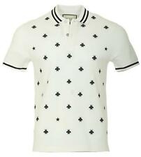 NEW GUCCI MEN'S CURRENT WHITE STRETCH GRAINED COTTON LOGO BEE POLO SHIRT M