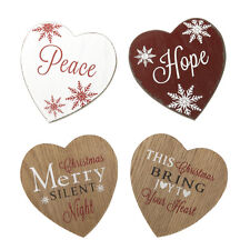 Set of Four Christmas Heart Wooden Coasters – Festive – Placemat – Table coaster