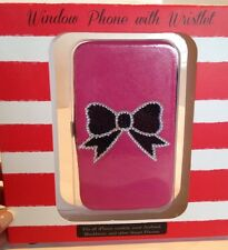 Window Phone Case w/Wristlet Pink Black & Silver Black Bow iPhone Andriod NWT