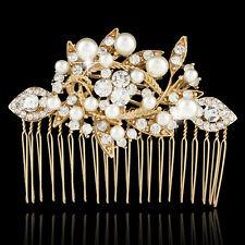 Wedding Bridal Flower Faux Pearl Hair Side Comb Clear Rhinestone Crystal Gold GP