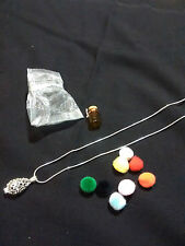 Necklace Silver Filigree Aroma Therepy Pendant comes complete vial puffs chain