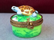 """Vintage Limoges France Trinket Box """"L. J.""""  Miniature Turtle Peint Main"""