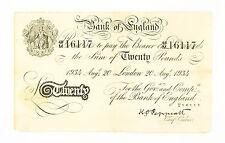 UK Great Britain 20 Pounds 1934 Operation Bernhard Nazi Forgery f- pinholes