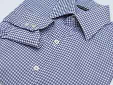 Tom Ford Gray/White Bold Check Point Collar 100% Cotton Dress Shirt 16-34 Italy