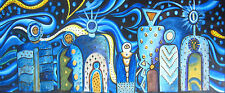 "abstract Aboriginal Art oil Painting Canvas ""MIMI GODS "" print 600mm x 250mm"