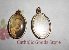 Saint St Anthony Italian 1 inch Gold Tone and Enameled - Medal