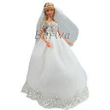 Vestido novia Boda Blanco Bordado borde plata Ropa + Velo para Muñeca Barbie