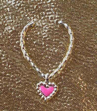 Silver Tone Barbie Doll Sized Heart Necklace (Plastic) Jewellery  NO DOLL