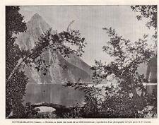 MILFORD BAIE BAY NOUVELLE ZELANDE NEW ZEALAND IMAGE 1908 OLD PRINT