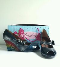 "NIB Poetic Licence ""Pretty Woman in Blue"" Wedges, Rainbow, Orig. $140, Size 9.5"