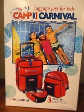 CAMP CARNIVAL 3PC KIDS TRAVEL LUGGAGE SET UP RIGHT CARRY ON BACK PACK WAIST PACK