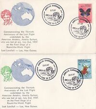 Stamps PNG on pair Bergen cachet souvenir covers Amelia Earhart anniversary