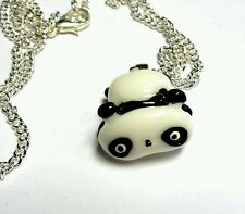Tare Panda pendant necklace silver plated chain 18 inch kawaii