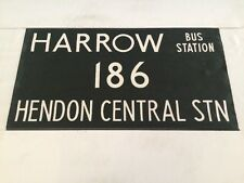 "London Harrow Vintage Linen Bus Blind 36""-186 Harrow Bus Station Hendon Central"