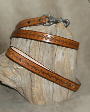 Good Quality US Made Saddle Tan Leather Dog Leash, Barbed Wire Tooling. G&E