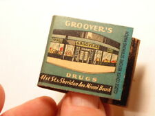 Early advertising matchbook: Groover's Drug store,Miami Beach(5 digit phone no)