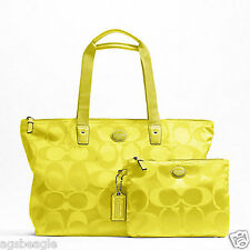 Coach Bag F77321 Getaway Signature Nylon Packable Weekender Citrine Agsb COD