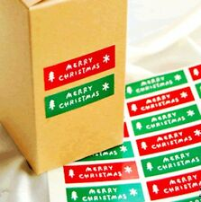 Merry Christmas Stickers Labels Gift Wrap Seals Packaging Crafts Red Green 24pcs