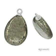 2 Pyrite In Sterling Silver Pear Drop Pendant Charm Earring Beads #98063