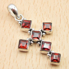 "Cut Red CROSS Pendant 1 1/2"" Silver Plated Natural GARNET 6 Stone NICE Jewelry"