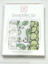 SwaddleDesigns SwaddleLite Set of 3 Marquisette Swaddle Blankets Modern Kiwi