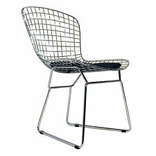 Bertoia Wire Side Chair With Black Cushion