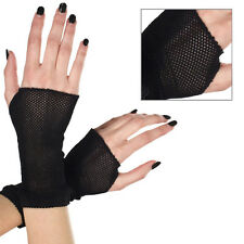 Gothic Punk Sheer Black Fishnet Fingerless Gloves Wrist Length Short Arm Warmers