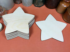 WOODEN COUNTRY STARS Shapes 12.7cm (x10) wood cutouts crafts blank shape