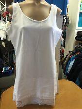 Bonita Woman T-Shirt Damen Gr L 42 Weiss Extra Lang Spitzenbesatz 1A Zustand