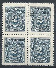 El Salvador 1897 Sc# J26 blue 2c Postage due block 4 MNH