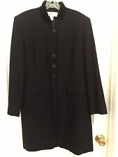 Women's Jones New York Navy Blue Long Dress Coat Winter Jacket Sz 12 100% Wool
