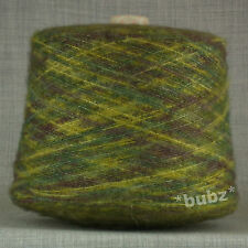 SPACE DYED SOFT BRUSHED YARN BIG 800g CONE 16 BALLS GREEN YELLOW MOHAIR FEEL DYE