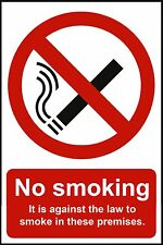 3 x NO SMOKING SAFETY WARNING SIGNS Sticker Vinyl for car window glass wall door