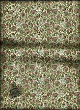 Pretty Fan Floral Print pink blue olive on cream Fabric by Baum Textiles