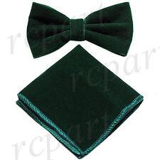 New in box Brand Q formal Men's Pre-tied Velvet Bow tie & Hankie Emerald Green