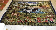 """Large Vintage Horse Wall Hanging Tapestry Rug Made In  70"""" x 50"""". Amazing Colors"""